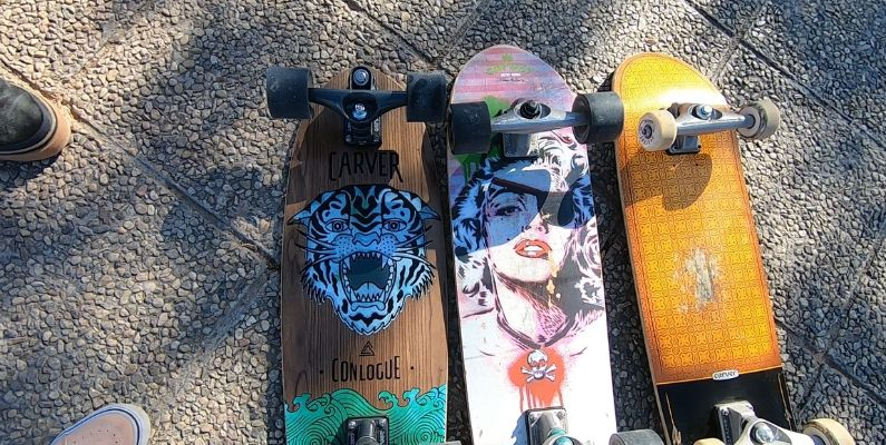 Comparativa ejes C7, CX y C5 Carver Surfskates